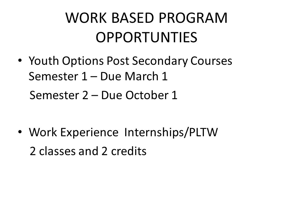 WORK BASED PROGRAM OPPORTUNTIES Youth Options Post Secondary Courses Semester 1 – Due March 1 Semester 2 – Due October 1 Work Experience Internships/P