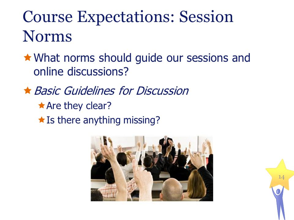 Course Expectations: Session Norms What norms should guide our sessions and online discussions.
