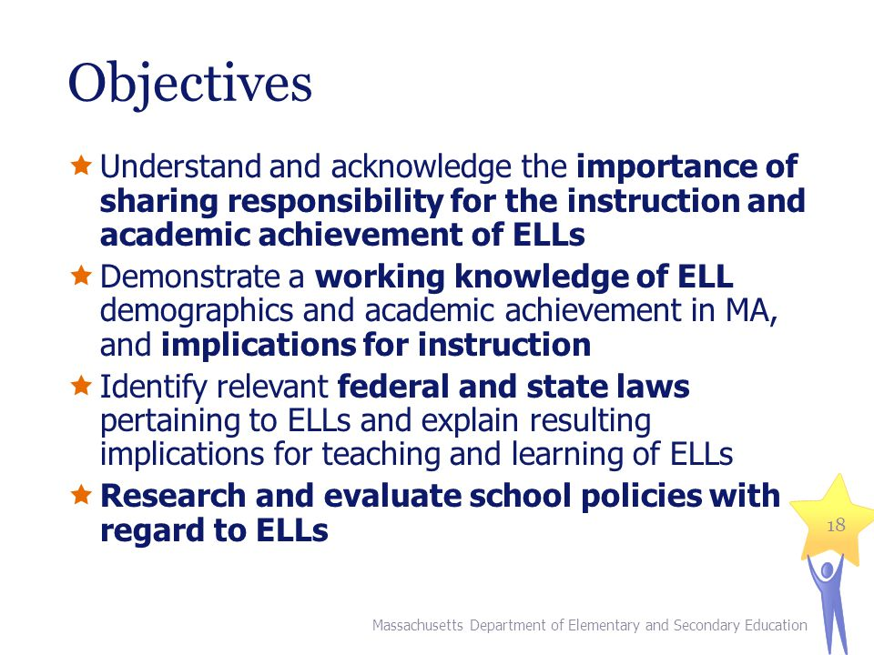 Objectives Understand and acknowledge the importance of sharing responsibility for the instruction and academic achievement of ELLs Demonstrate a working knowledge of ELL demographics and academic achievement in MA, and implications for instruction Identify relevant federal and state laws pertaining to ELLs and explain resulting implications for teaching and learning of ELLs Research and evaluate school policies with regard to ELLs Massachusetts Department of Elementary and Secondary Education 18