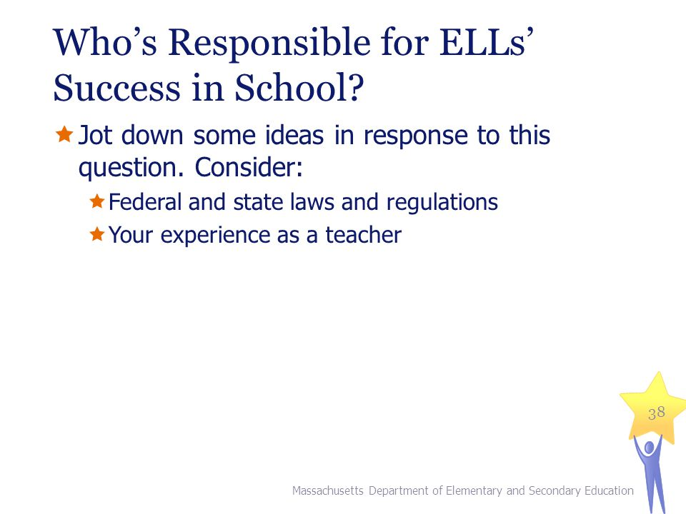 Whos Responsible for ELLs Success in School.Jot down some ideas in response to this question.