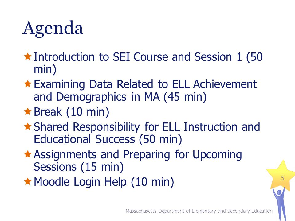 Agenda Introduction to SEI Course and Session 1 (50 min) Examining Data Related to ELL Achievement and Demographics in MA (45 min) Break (10 min) Shared Responsibility for ELL Instruction and Educational Success (50 min) Assignments and Preparing for Upcoming Sessions (15 min) Moodle Login Help (10 min) Massachusetts Department of Elementary and Secondary Education 5