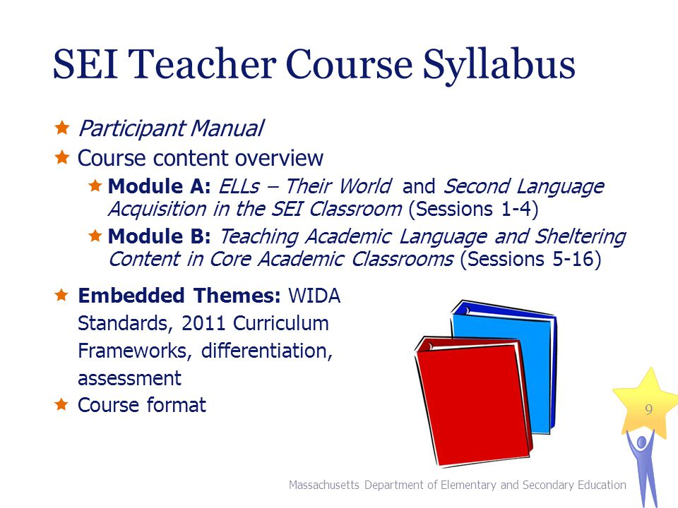 Participant Manual Course content overview Module A: ELLs – Their World and Second Language Acquisition in the SEI Classroom (Sessions 1-4) Module B: Teaching Academic Language and Sheltering Content in Core Academic Classrooms (Sessions 5-16) Embedded Themes: WIDA Standards, 2011 Curriculum Frameworks, differentiation, assessment Course format SEI Teacher Course Syllabus Massachusetts Department of Elementary and Secondary Education 9