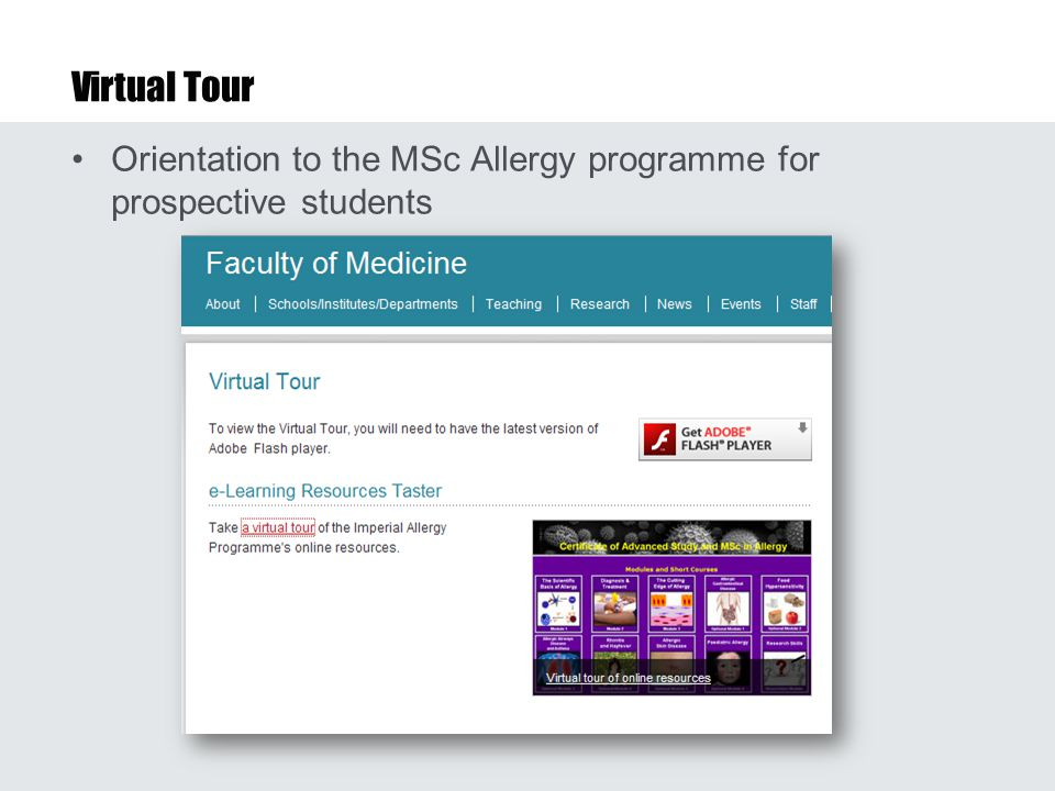 Virtual Tour Orientation to the MSc Allergy programme for prospective students