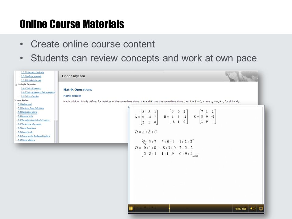 Online Course Materials Create online course content Students can review concepts and work at own pace