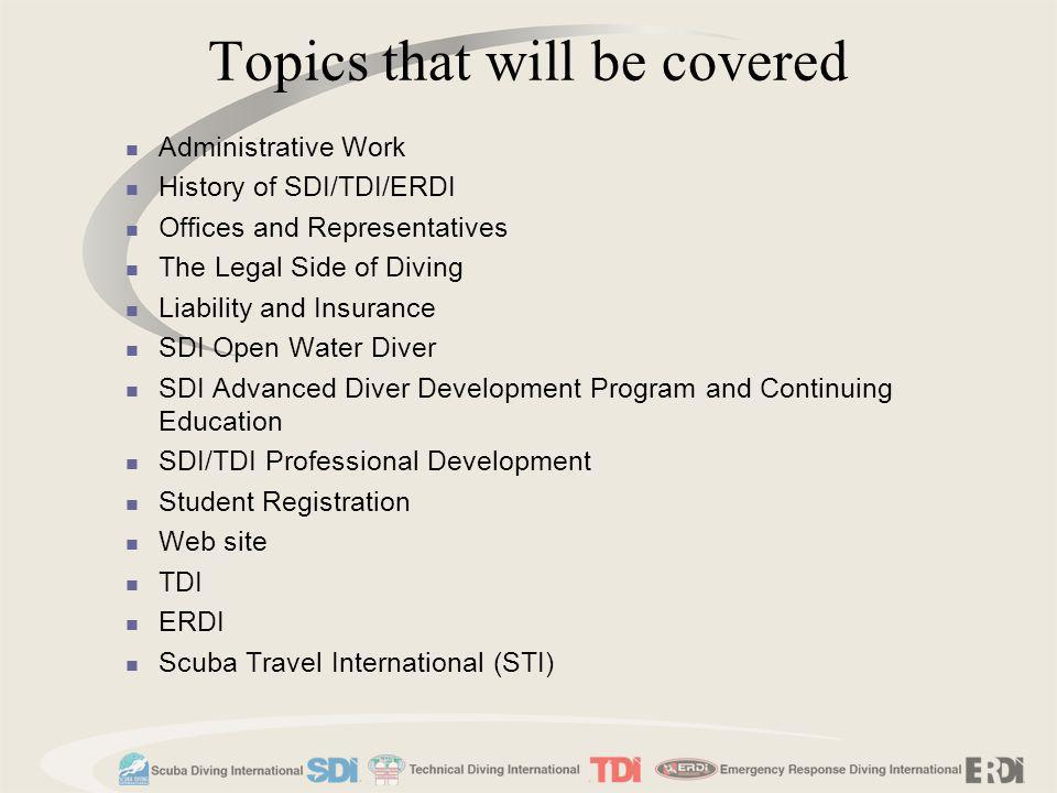 TDI/SDI/ERDI Website Main Page