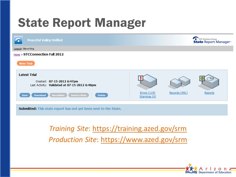 State Report Manager Training Site: https://training.azed.gov/srm Production Site: https://www.azed.gov/srm