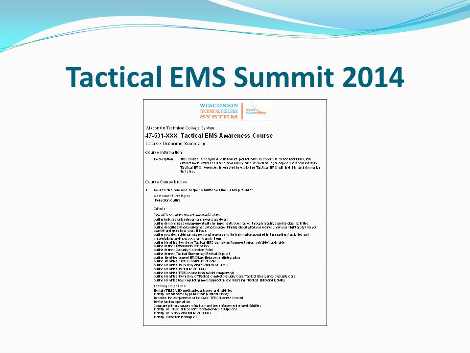Tactical EMS Summit 2014