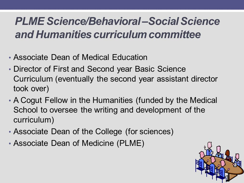 PLME Science/Behavioral –Social Science and Humanities curriculum committee Associate Dean of Medical Education Director of First and Second year Basi