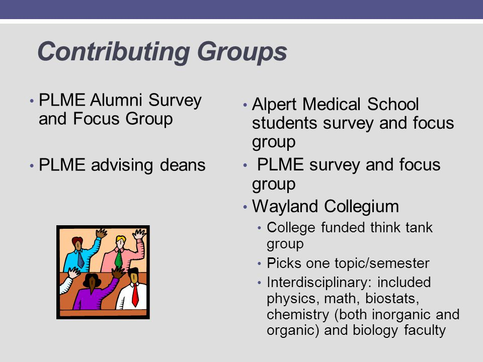 Contributing Groups PLME Alumni Survey and Focus Group PLME advising deans Alpert Medical School students survey and focus group PLME survey and focus