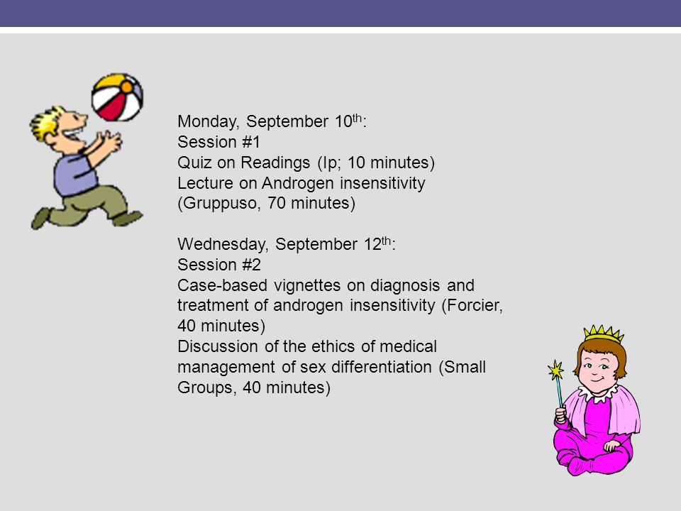 Monday, September 10 th : Session #1 Quiz on Readings (Ip; 10 minutes) Lecture on Androgen insensitivity (Gruppuso, 70 minutes) Wednesday, September 1