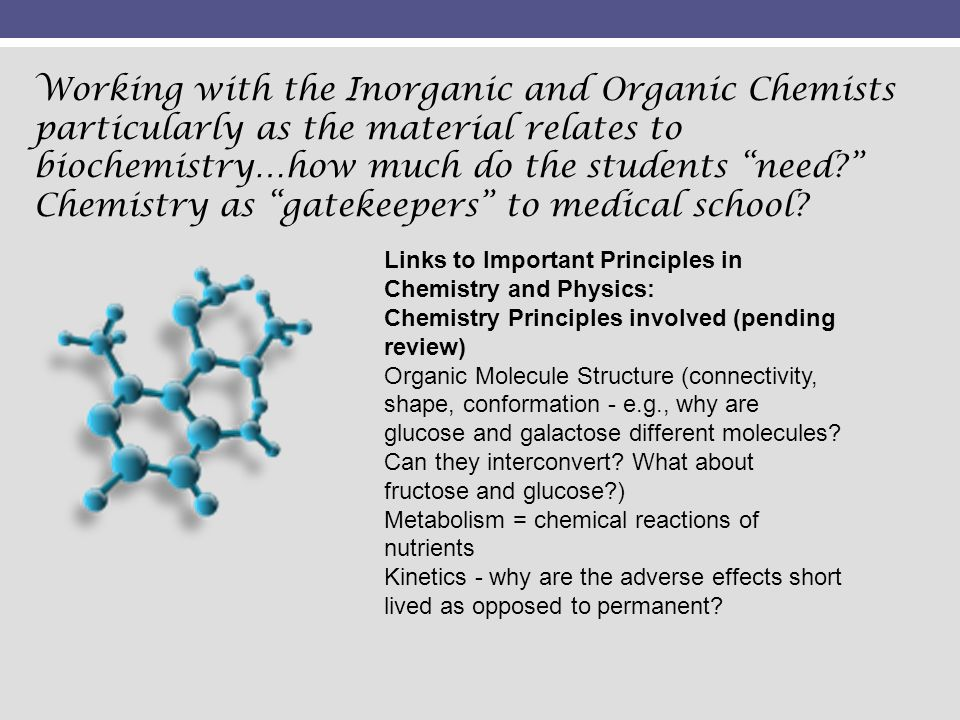 Links to Important Principles in Chemistry and Physics: Chemistry Principles involved (pending review) Organic Molecule Structure (connectivity, shape