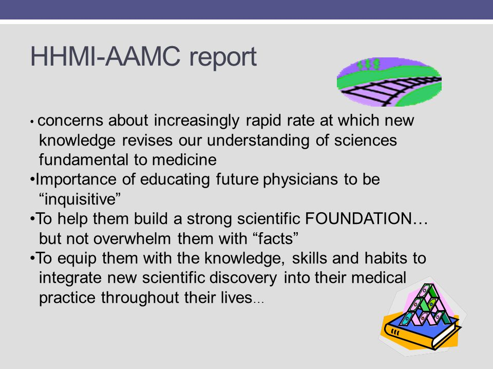HHMI-AAMC report concerns about increasingly rapid rate at which new knowledge revises our understanding of sciences fundamental to medicine Importanc