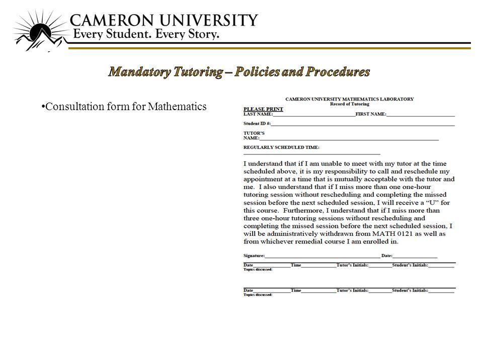 18 Consultation form for Mathematics