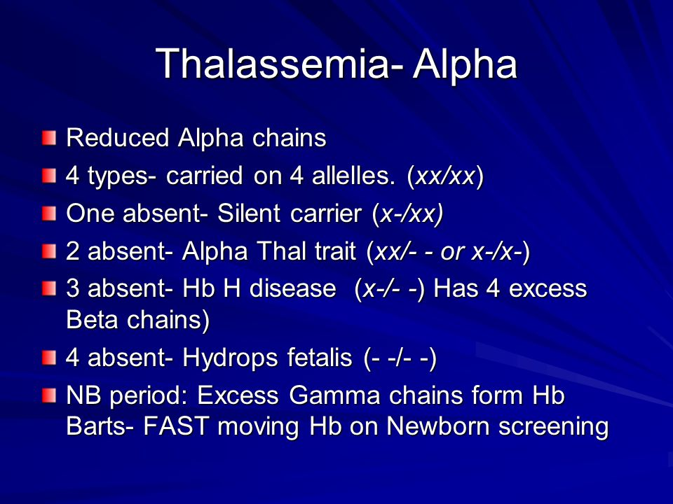 Thalassemia- Alpha Reduced Alpha chains 4 types- carried on 4 allelles. (xx/xx) One absent- Silent carrier (x-/xx) 2 absent- Alpha Thal trait (xx/- -