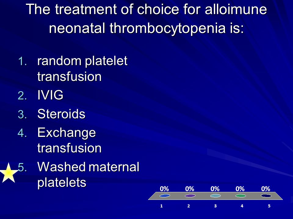 The treatment of choice for alloimune neonatal thrombocytopenia is: 1. random platelet transfusion 2. IVIG 3. Steroids 4. Exchange transfusion 5. Wash
