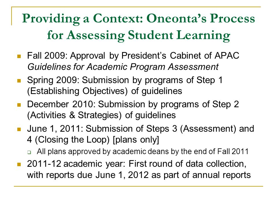 Providing a Context: Oneontas Process for Assessing Student Learning Fall 2009: Approval by Presidents Cabinet of APAC Guidelines for Academic Program Assessment Spring 2009: Submission by programs of Step 1 (Establishing Objectives) of guidelines December 2010: Submission by programs of Step 2 (Activities & Strategies) of guidelines June 1, 2011: Submission of Steps 3 (Assessment) and 4 (Closing the Loop) [plans only] All plans approved by academic deans by the end of Fall 2011 2011-12 academic year: First round of data collection, with reports due June 1, 2012 as part of annual reports