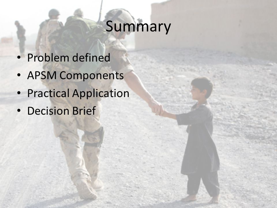 Summary Problem defined APSM Components Practical Application Decision Brief