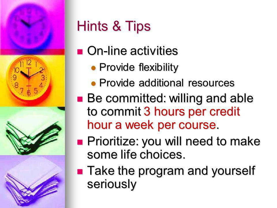 Hints & Tips On-line activities On-line activities Provide flexibility Provide flexibility Provide additional resources Provide additional resources Be committed: willing and able to commit 3 hours per credit hour a week per course.