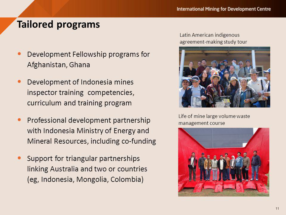 Development Fellowship programs for Afghanistan, Ghana Development of Indonesia mines inspector training competencies, curriculum and training program