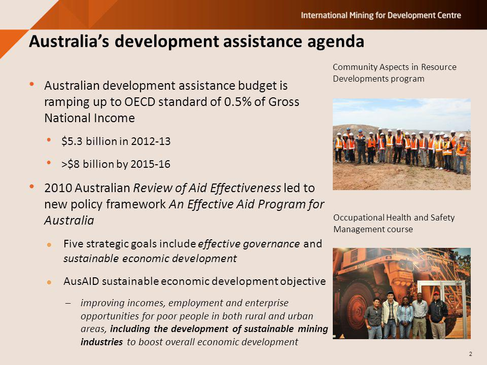 Australian development assistance budget is ramping up to OECD standard of 0.5% of Gross National Income $5.3 billion in 2012-13 >$8 billion by 2015-1