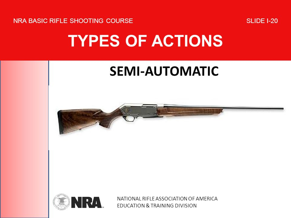 NATIONAL RIFLE ASSOCIATION OF AMERICA EDUCATION & TRAINING DIVISION NRA BASIC RIFLE SHOOTING COURSE SLIDE I-20 TYPES OF ACTIONS SEMI-AUTOMATIC