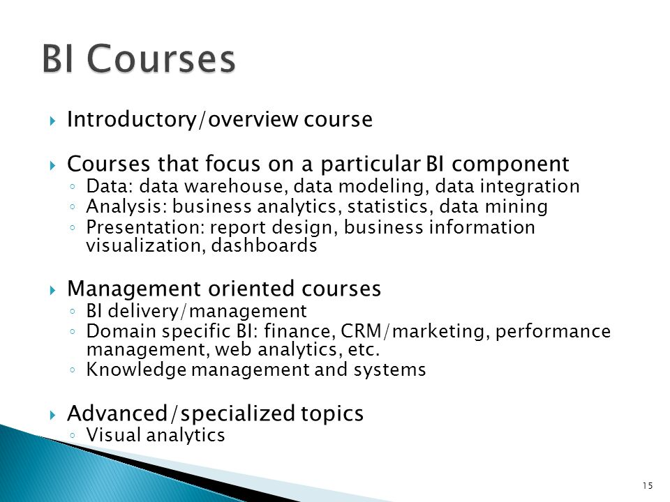 Introductory/overview course Courses that focus on a particular BI component Data: data warehouse, data modeling, data integration Analysis: business analytics, statistics, data mining Presentation: report design, business information visualization, dashboards Management oriented courses BI delivery/management Domain specific BI: finance, CRM/marketing, performance management, web analytics, etc.