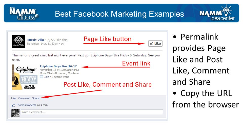 Best Facebook Marketing Examples Permalink provides Page Like and Post Like, Comment and Share Copy the URL from the browser
