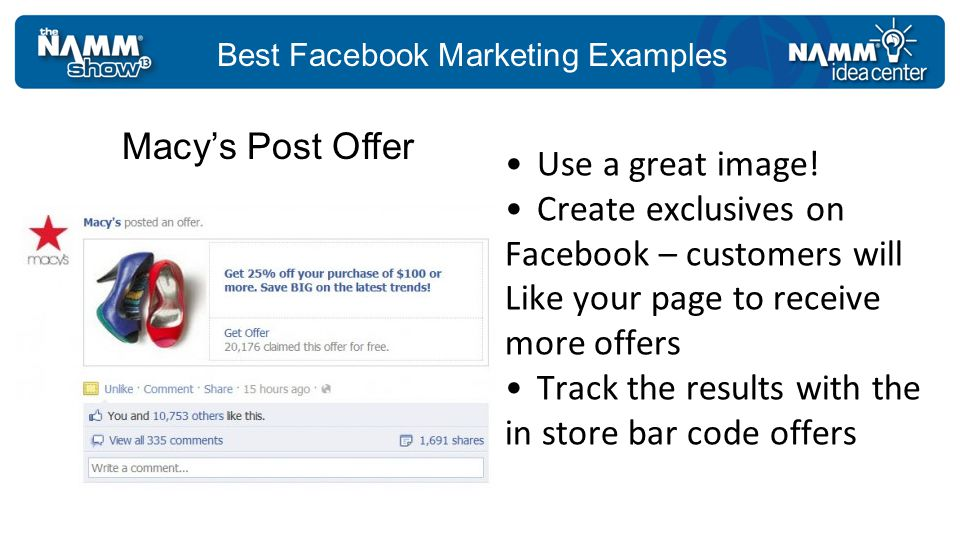 Best Facebook Marketing Examples Use a great image.