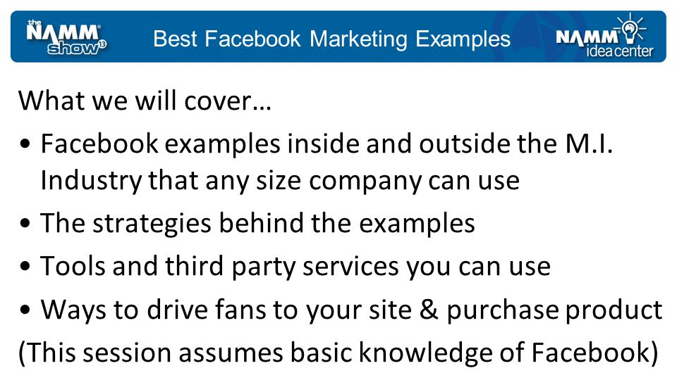 Best Facebook Marketing Examples Go to Places in Facebook Ads for help Friends of fans see the check-ins Use simple cost effective rewards: picks, polish, T-Shirts, 10% off purchase http://ads.ak.facebook.com/ads/FacebookAds/Places_advertisers.pdf