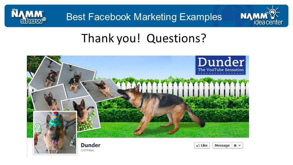 Best Facebook Marketing Examples Thank you! Questions