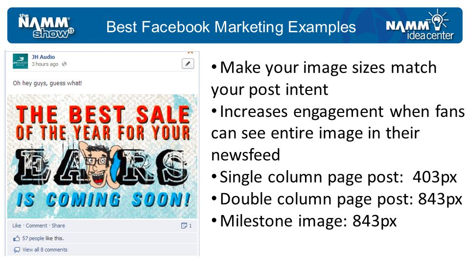 Best Facebook Marketing Examples Most people post this way Image choices are limited to what is on the page Some pages may not have images Image is only a small thumbnail Posting using just the link image is boring