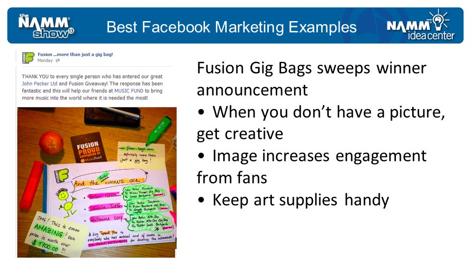 Best Facebook Marketing Examples Fusion Gig Bags sweeps winner announcement When you dont have a picture, get creative Image increases engagement from fans Keep art supplies handy