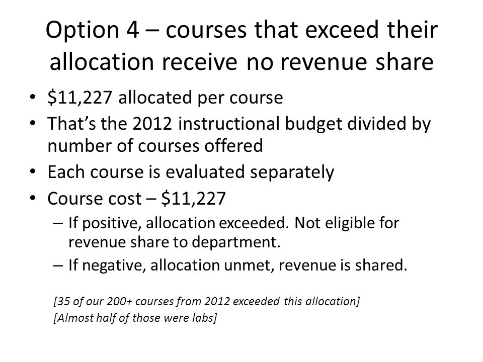 Option 4 – courses that exceed their allocation receive no revenue share $11,227 allocated per course Thats the 2012 instructional budget divided by number of courses offered Each course is evaluated separately Course cost – $11,227 – If positive, allocation exceeded.
