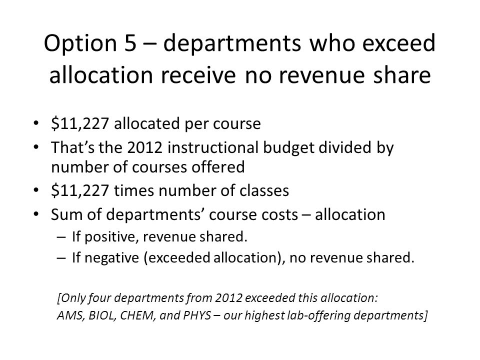 Option 5 – departments who exceed allocation receive no revenue share $11,227 allocated per course Thats the 2012 instructional budget divided by number of courses offered $11,227 times number of classes Sum of departments course costs – allocation – If positive, revenue shared.