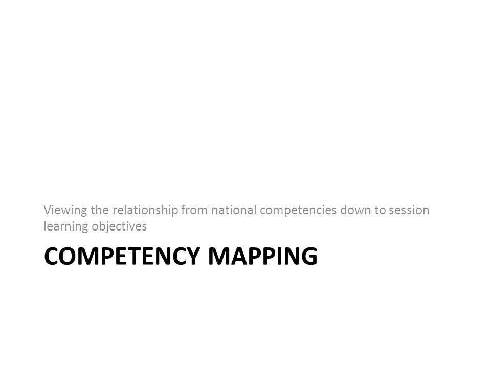 COMPETENCY MAPPING Viewing the relationship from national competencies down to session learning objectives