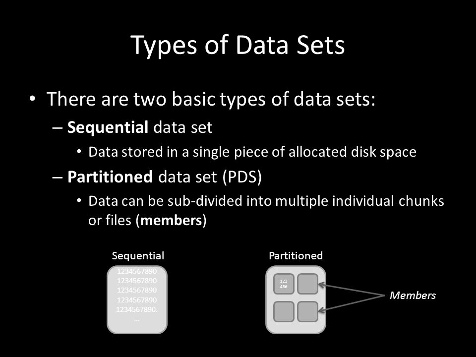 Types of Data Sets There are two basic types of data sets: – Sequential data set Data stored in a single piece of allocated disk space – Partitioned data set (PDS) Data can be sub-divided into multiple individual chunks or files (members) 1234567890 1234567890 1234567890....