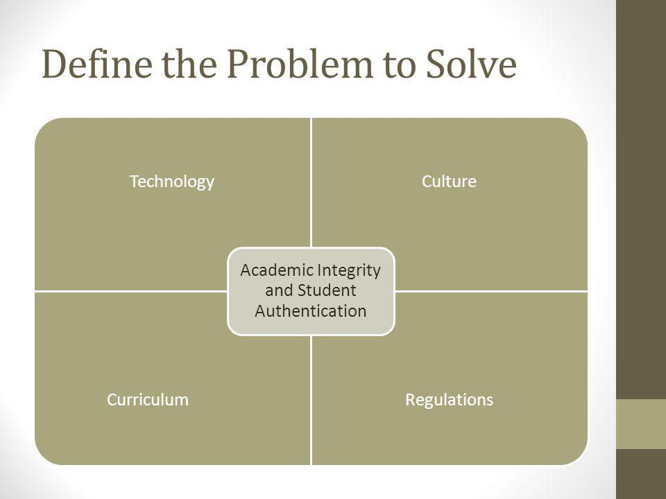 Overview of Issues Regulations -Higher Education Opportunity Act- 2008 Technology -authentication tools-- biometrics, mouse/keyboard, challenge questions Culture -institutional roles and responsibilities, policies and resources Curriculum -approaches to teaching and practice