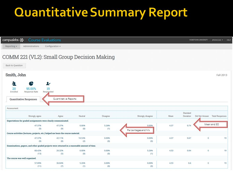 Quantitative Reports Mean and SD Percentages and Ns