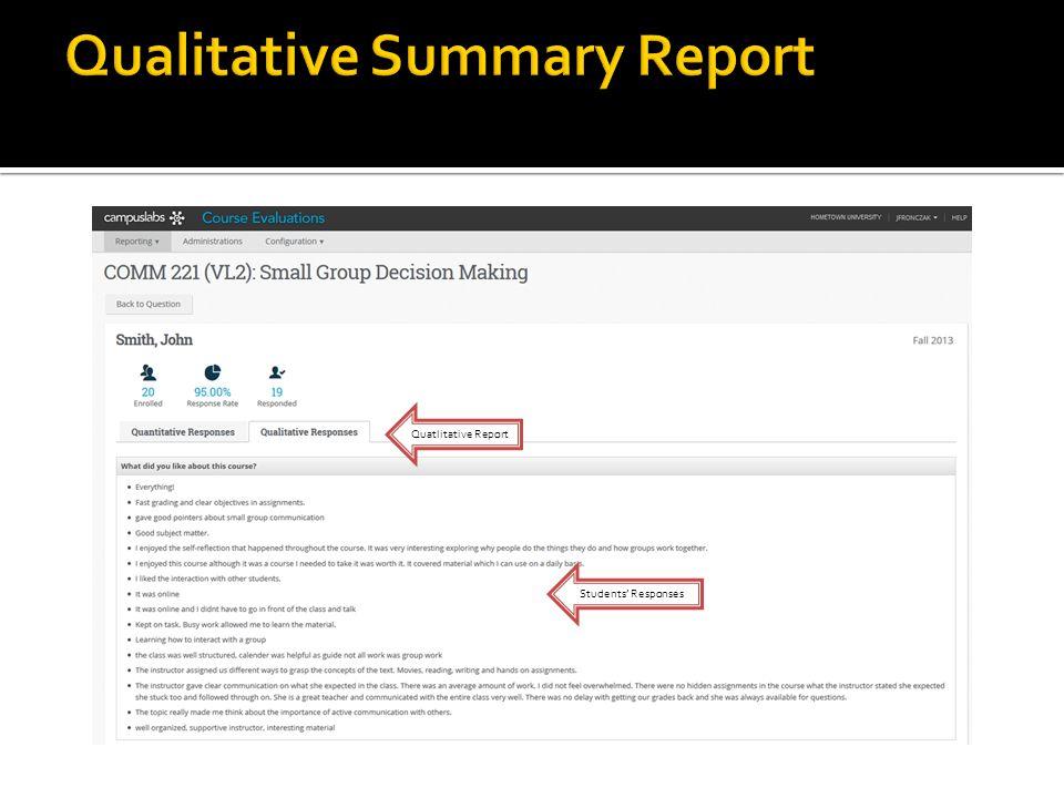 Quatlitative Report Students Responses
