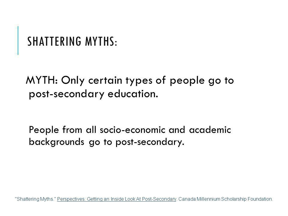 SHATTERING MYTHS: MYTH: Only certain types of people go to post-secondary education. People from all socio-economic and academic backgrounds go to pos