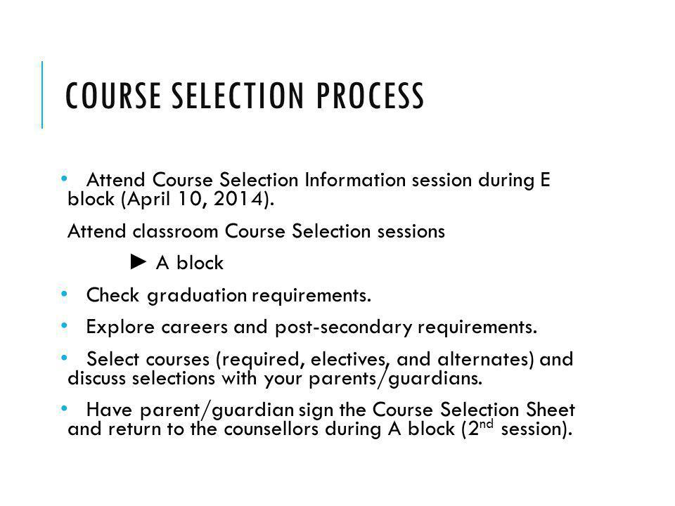 COURSE SELECTION PROCESS Attend Course Selection Information session during E block (April 10, 2014).