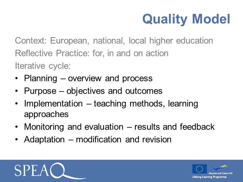 Context: European, national, local higher education Reflective Practice: for, in and on action Iterative cycle: Planning – overview and process Purpos