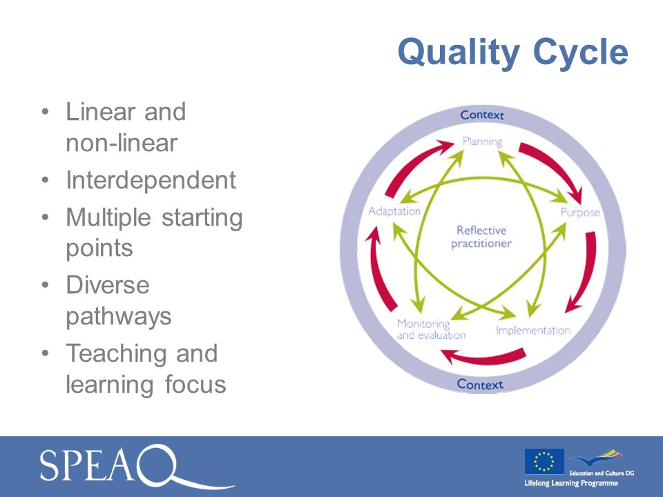 Linear and non-linear Interdependent Multiple starting points Diverse pathways Teaching and learning focus Quality Cycle