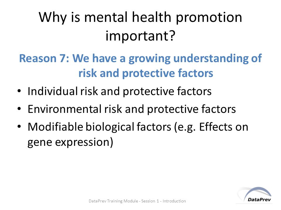 Why is mental health promotion important.