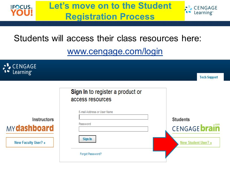 South-Western | Delmar | Course Technology | Gale Lets move on to the Student Registration Process Students will access their class resources here: www.cengage.com/login