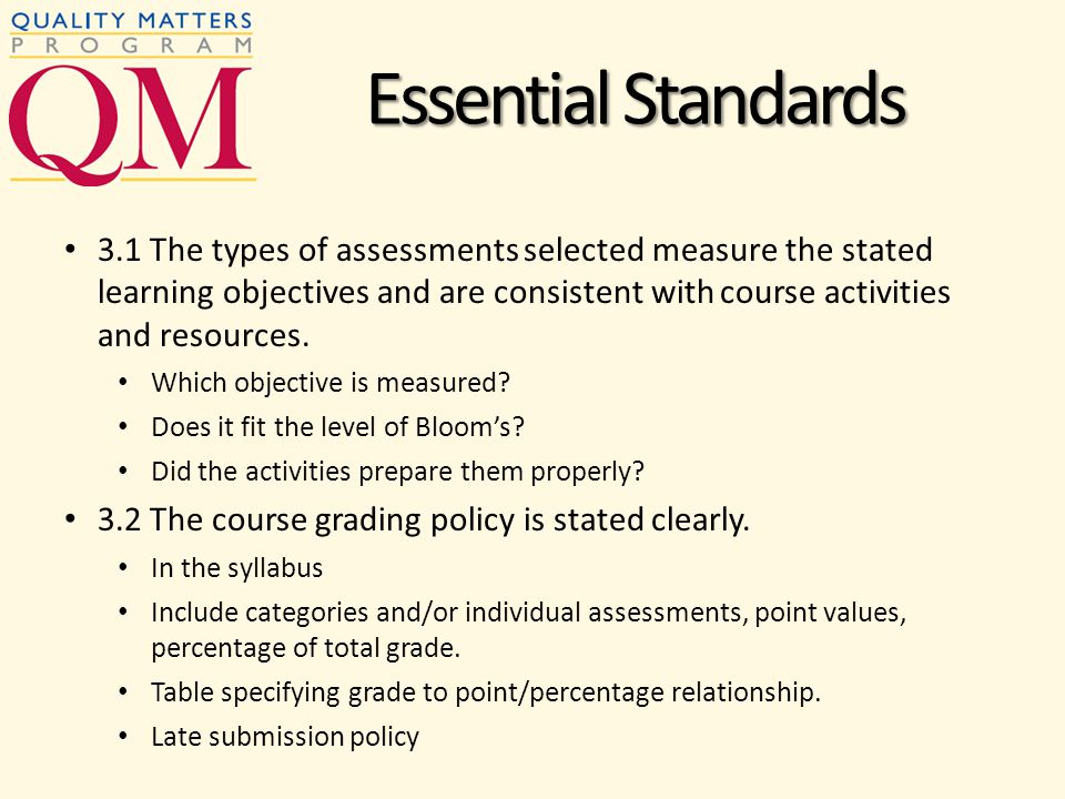 3.1 The types of assessments selected measure the stated learning objectives and are consistent with course activities and resources.