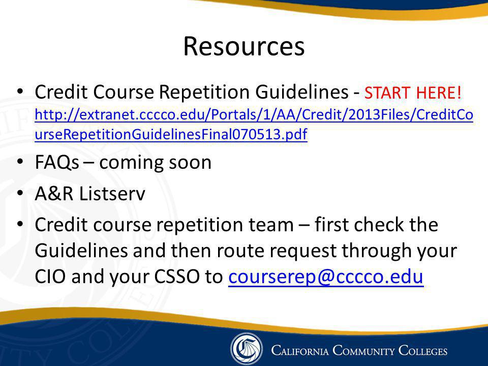 Resources Credit Course Repetition Guidelines - START HERE.