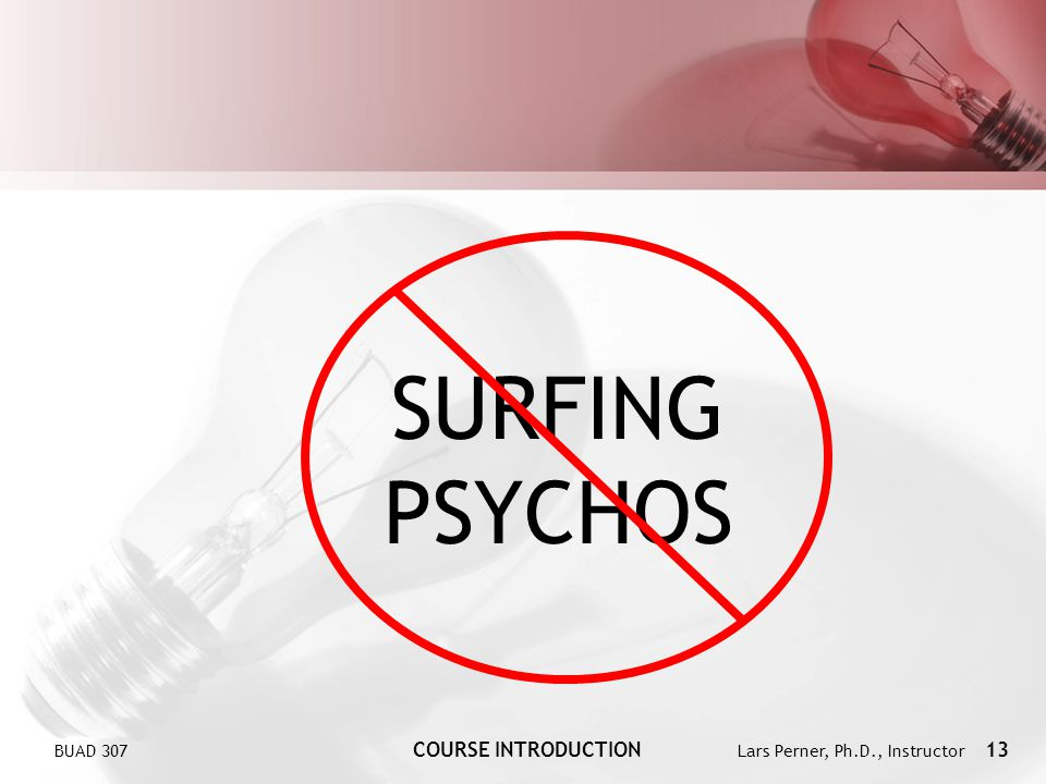 BUAD 307 COURSE INTRODUCTION Lars Perner, Ph.D., Instructor 13 SURFING PSYCHOS