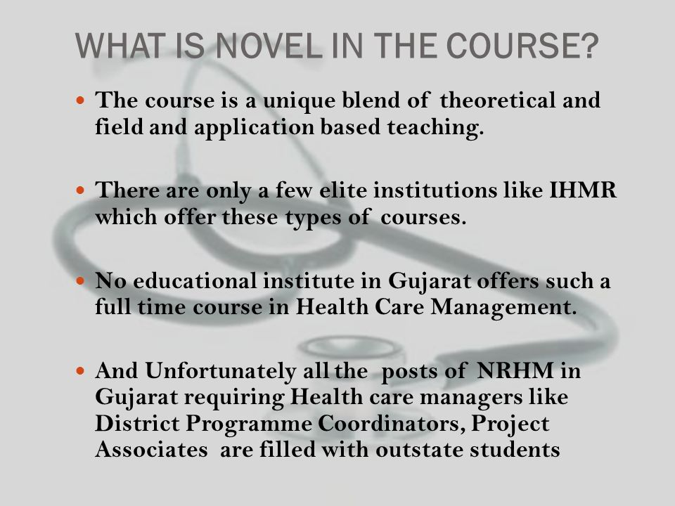 WHAT IS NOVEL IN THE COURSE.