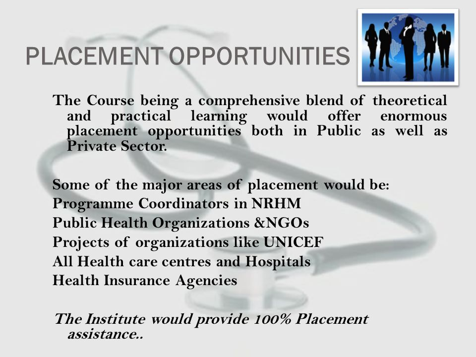 ESTABLISHING CONTACTS TO EXPAND THE HORIZON We are in process of establishing contacts and signing MOUs with various prestigious organizations working in Health sector to provide students ample opportunities for internship and placement: Some of them are Indian Institute of Public Health Sewa Rural (Jhagadia) Sterling Hospitals Global Group of Hospitals Bhailal Amin General Hospital And many others...